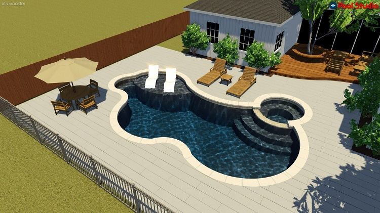 A Design concept rendering shows ideas for decking around a pool