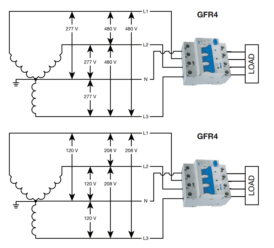 A schematic drawing of a GFCI breaker