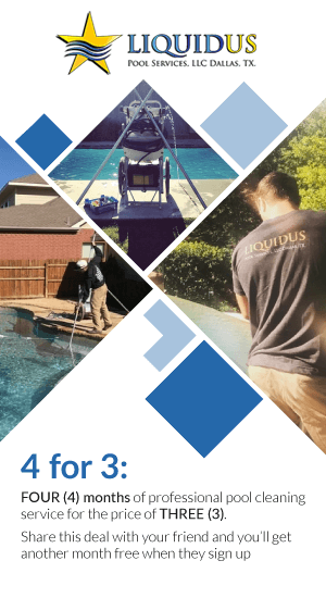 Special Offer of four months pool cleaning for the price of three