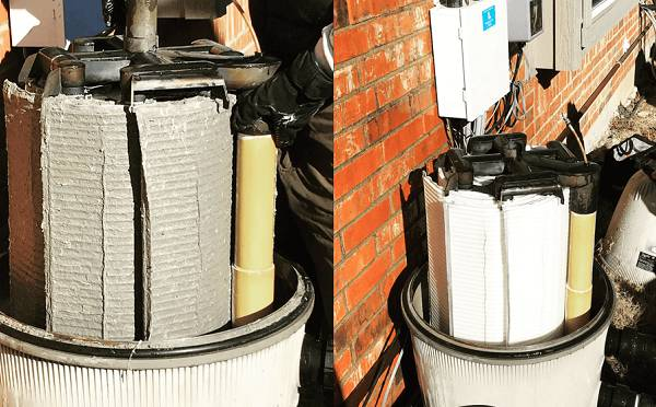 A before and after picture of a dirty to clean cartridge pool filter
