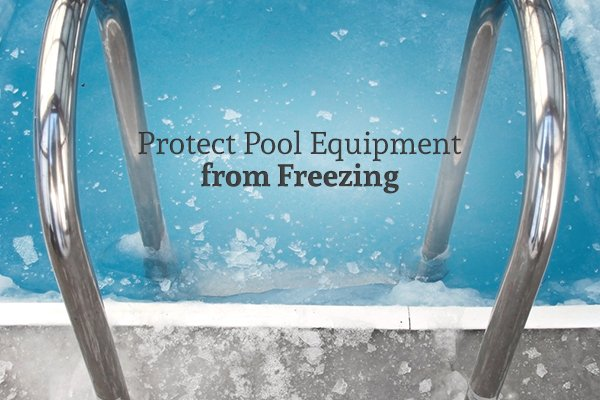 "A picture from the point of view of someone standing over the ladder to a pool with ice in it along with the words ""Protect Pool Equipment from Freezing"""