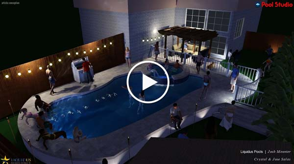 Video thumbnail of animated 3d rendering of a free form pool at night