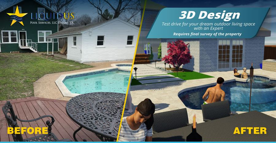 3D design of a before and after image of a remodeled pool