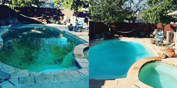 An image of a pool before and after treatment for Algae