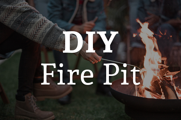 Friends around a first roasting marshmallows with the words, DIY fire pit.
