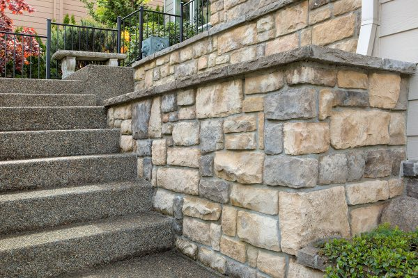 A beautiful retaining wall and stone stairs.