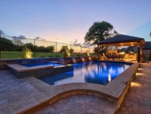 Gorgeous outdoor pool lighting.