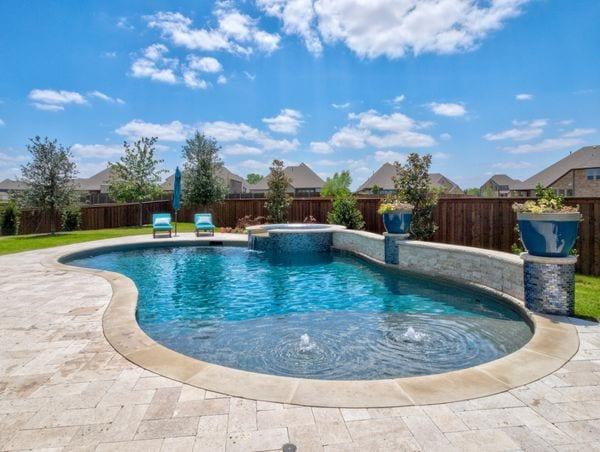 A beautiful concrete swimming pool